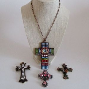 Beaded Cross Necklace & 3 Cross Pendants